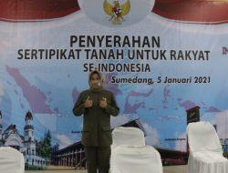 Wakil Ketua DPRD, Apresiasi Percepatan Sertifikasi Tanah di Sumedang